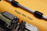 Happy new year text on typewriter — Foto de Stock