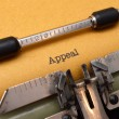 Appeal text on typewriter — Stock Photo