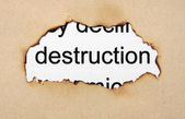 Deconstruction text on paper hole — Stock Photo