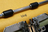Blog text on typewriter — Stok fotoğraf