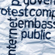 Protest embassy text on  crinkled paper — Stock Photo