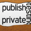 Stock Photo: Publish private text on torn paper