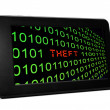 Stock Photo: Theft text on pc tablet