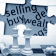 Buy, sell, puzzle and chess concept — Stock Photo