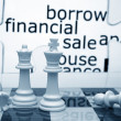 Foto Stock: Borrow financial sale chess concept