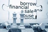 Pożyczyć finansowych sprzedam szachy koncepcja — Zdjęcie stockowe