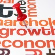 Stock Photo: Push pin on growth text