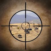 Military target on vehicles — Stock Photo