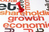 Push pin on growth text — Stock Photo