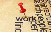 Push pin on work text — Stock Photo