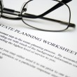 Stock Photo: Estate planning worksheet