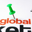 alfiler en texto global — Foto de Stock