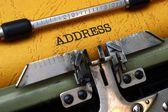 Address on typewriter — Stock Photo
