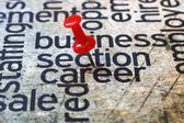 Push pin on career text — Stock Photo
