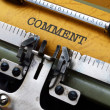 Comment text on typewriter — Stock Photo