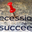 Push pin on recession text — Stock Photo