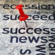 Push pin on success news — Stock Photo