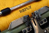 Reply on typewriter — Stock Photo