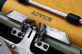 Advice on typewriter — Stock Photo
