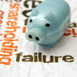 Piggy bank and failure concept — Stockfoto