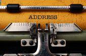 Address text on typewriter — Stock Photo