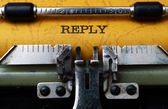 Reply text on typewriter — Stock Photo