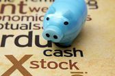Piggy bank and stock concept — Stock Photo