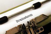 Brainstorm text on typewriter — 图库照片