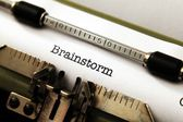 Brainstorm text on typewriter — Stock fotografie
