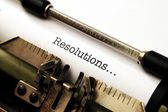Resolutions on typewriter — Stock Photo