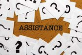 Assistance and question mark — Stock Photo
