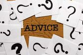 Advice and question mark — Stock Photo