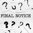 Stock Photo: Final notice