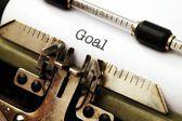 Goal text on typewriter — Zdjęcie stockowe