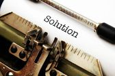 Solution text on typewriter — Stockfoto