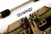 Strategy text on typewriter — Stock Photo
