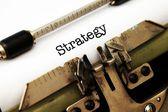 Strategy text on typewriter — Stock Photo