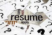 Resume and question mark — Stok fotoğraf