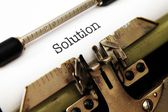 Solution text on typewriter — Foto Stock