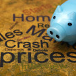Piggy bank and crash prices concept — Stock Photo