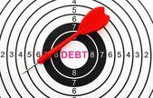 Debt target concept — Stockfoto