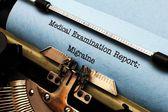 Medical report - Migraine — Stock Photo