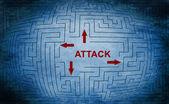 Attack maze concept — Stock Photo