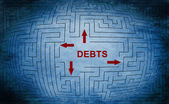 Debt maze concept — Stock Photo