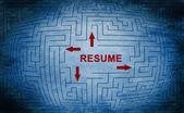Resume maze concept — Stockfoto
