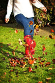 Kicking Leaves — Stock Photo