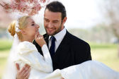 Groom Holding the Bride — Stock Photo