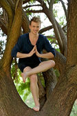 Man Performs Modified Tree Pose in A Tree — Stock Photo