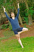 Slanted Yoga Tree Pose — Stock Photo