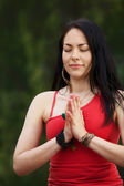 Woman Yogi Stands with Hands In Prayer — Stock Photo